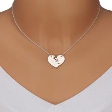 Halskette aus 925 Silber - geteiltes Herz mit drei Stichen genäht, spiegelglänzende Oberfläche