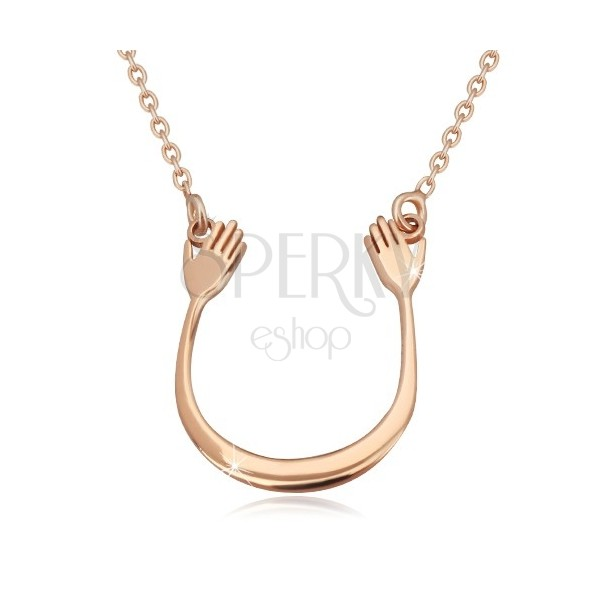 925 Silber Halskette in rosa-goldenem Farbton - glänzender Bogen und zwei Hände