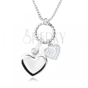 Halskette aus 925 Silber - glänzende Kette aus eckigen Gliedern, Multi-Anhänger, Herzen