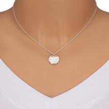 """925 Silber Halskette - zwei gewölbte Kreise, Aufschrift """"You make me smile"""", Smiley"""