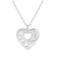 """925 Silber Halskette - symmetrisches Herz mit herzförmigen Ausschnitten, Aufschrift """"MUM"""""""