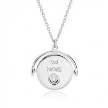 """925 Silber Halskette, Drehanhänger mit Aufschrift """"I am LUCKY & BLESSED to HAVE U"""""""
