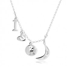 "925 Silber Halskette - Anhänger mit dem Motiv ""I love you to the moon and back"""