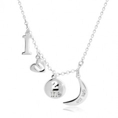 "925 Silber Halskette - Anhänger mit dem Motiv ""I love you to the moon and back"""