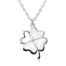 925 Silber Halskette - vierblättriger Glücksklee, herzförmiger Ausschnitt, glitzernde Kette