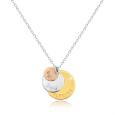 """Halskette aus 925 Silber - dreifarbige Kreise """"ME YOU FOREVER"""", glitzernde Kette"""