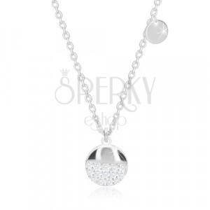 925 Silber Halskette - flacher Kreis, größerer Kreis mit glitzernden Zirkonen
