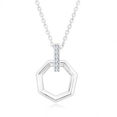 925 Silber Halskette - senkrechte Zirkon Linie und Sechseck, Kette