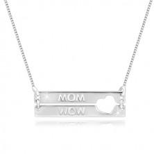 """Halskette aus 925 Silber - Rechtecke mit herzförmigem Ausschnitt, Aufschrift """"MOM"""""""