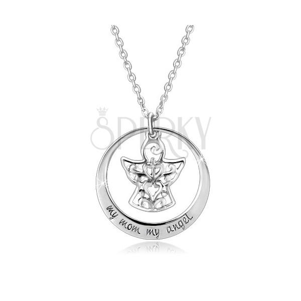 925 Silber Halskette - Kreisumriss, Engel mit Verzierungen, Aufschrift