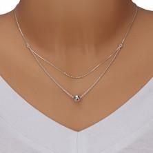 925 Silber Halskette - Doppelkette, kleine Kügelchen und größere Kugel