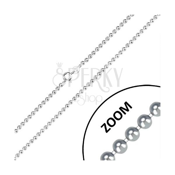 925 Silber Kette - glänzende Kugeln, Armee-Motiv, 2,5 mm