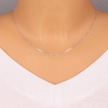 Kette aus 925 Silber - rechtwinklig verbundene ovale Glieder, glänzende Kanten, 1,3 mm