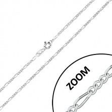 925 Silber Kette - Figaro Muster, abgeschnittene glitzernde Kanten, 1,6 mm