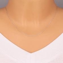Glänzende Kette aus 925 Silber - flache ovale Glieder, rechtwinklig verbundene Glieder, 1,4 mm