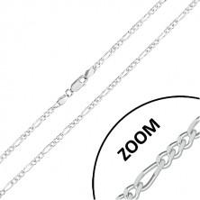 Kette aus 925 Silber - Figaro Muster, glitzernde geschliffene Kanten, 2,7 mm