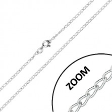 925 Silberkette - ovale Glieder mit geschliffenen Kanten, reihenweise verbunden, 1,8 mm