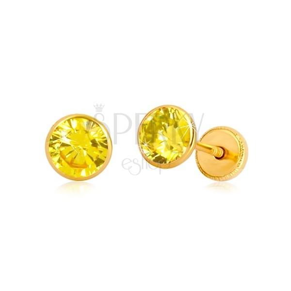 14K Gelbgold Ohrringe - gelber Zirkon in Fassung, Ohrstecker mit Schraubverschluss, 5 mm