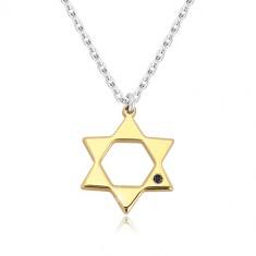 925 Silber Halskette - Davidstern in goldenem Farbton, schwarzer Diamant