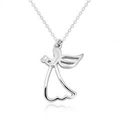 925 Silber Halskette - geschnitzter Engel mit einem Herzen, klarer Diamant