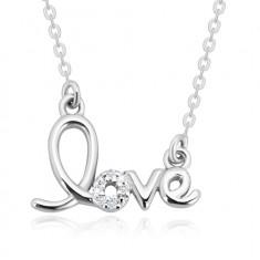 """925 Silber Halskette - dekorativ geschnitzte Aufschrift """"love"""", glitzernde Brillanten"""