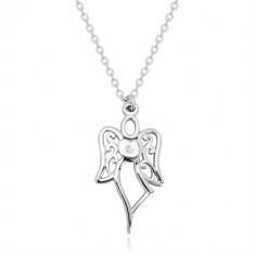 925 Silber Halskette - geschnitzter Engel, Herz mit einem klaren Diamanten