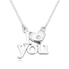 """Brillant Halskette, 925 Silber, """"I heart you"""", Kette aus ovalen Gliedern"""