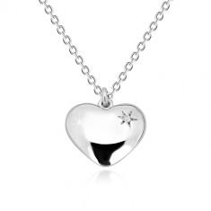 925 Silber Halskette - glänzendes Herz mit Stern und einem Diamanten