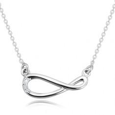 925 Silber Halskette - glitzernde Kette, Unendlichkeits-Symbol mit Brillanten