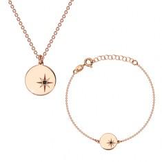 925 Silber Set, rosé-goldener Farbton - Armband und Halskette, Kreis, Polarstern und Diamant