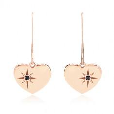 925 Silber Ohrringe, rosé-goldener Farbton - symmetrisches Herz, Nordstern, schwarzer Diamant