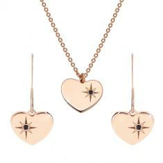 Set in rosé-goldener Farbe, 925 Silber - Ohrringe und Halskette, Herz mit Polarstern und einem Diamanten