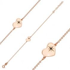 925 Silber Armband in rosé-goldener Farbe - glänzendes Herz, Nordstern, schwarzer Diamant