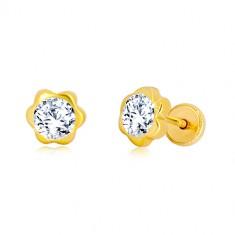 Ohrringe aus 585 Gelbgold - Blume, glitzernde Zirkon-Mitte, Ohrstecker mit Schraubverschluss