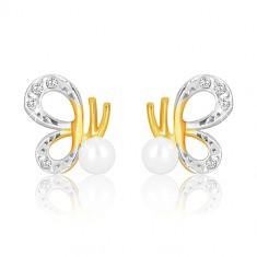 Ohrringe aus kombiniertem 375 Gold - Schmetterling mit geschnitzten Flügeln und Perle