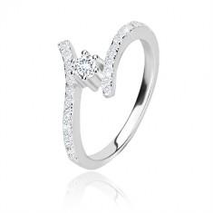 925 Silber Ring - glitzernde gebogene Ringschiene, klarer runder Zirkon in Fassung
