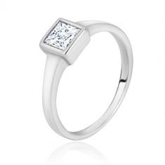 925 Silber Ring - schmale glänzende Ringschiene, transparentes Zirkon-Quadrat