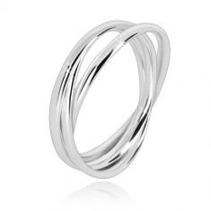 Dreier-Ring aus 925 Silber - eng verbundene Ringe mit glänzender Oberfläche