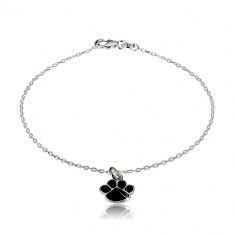 Armband aus 925 Silber - schwarze Pfote, glitzernde Kette aus ovalen Gliedern