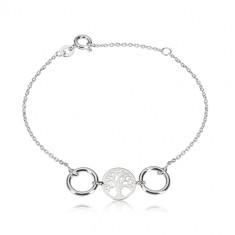 Armband aus 925 Silber - geschnitzter Kreis mit einem Lebensbaum, zwei glänzende Ringe