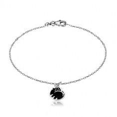 925 Silber Armband - Katze in Kugel zusammengerollt, Glasur in schwarzer Farbe, glänzende Kette