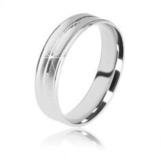 925 Silber Ehering - zwei matte Rillen und ein glänzender Streifen in der Mitte, 5 mm