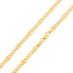 Goldkette - drei ovalförmige Augen, Glied mit griechischem Schlüssel, 600 mm