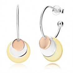925 Silber Ohrringe - glänzender Bogen und drei Kreise in kupferner, silberner und goldener Farbe
