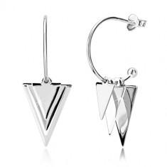 925 Silber Ohrringe - glänzende Dreiecke und Kugeln, schmaler Bogen mit Kugel, Ohrstecker