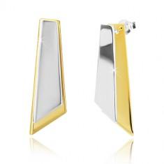 925 Silber Ohrringe - asymmetrische Vierecke in goldener und silberner Farbe