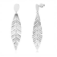 925 Silber Ohrringe - glänzende Feder, umgekehrte Träne, Ohrstecker