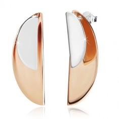 925 Silber Ohrringe - glänzende Bogen in silberner und kupferner Farbe, Ohrstecker