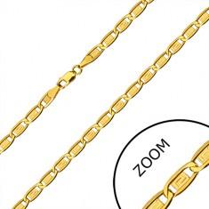 585 Gold Kette - längliche Glieder, Rechtecke mit griechischem Schlüssel, 600 mm