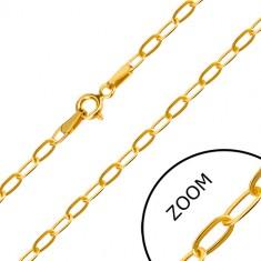 14K Gelbgold Kette - flaches längliches Glied, Federringverschluss, 550 mm